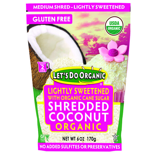 Edward & Sons, Let's Do Organic, Organic Shredded Coconut, Lightly Sweetened, 6 oz (170 g) (Discontinued Item)