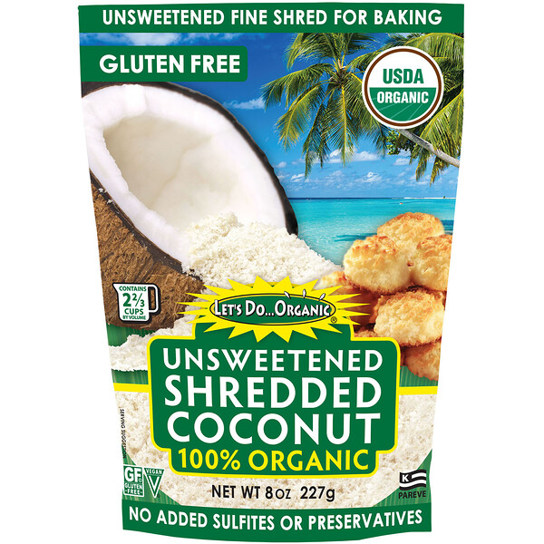 Edward & Sons, Edward & Sons, Let's Do Organic, 100% Organic Unsweetened Shredded Coconut, 8 oz (227 g)