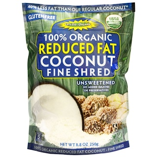 Edward & Sons, 100% Organic, Reduced Fat Coconut, Fine Shred, Unsweetened, 8.8 oz (250 g)