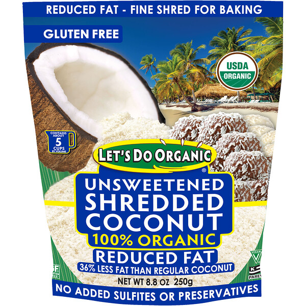 Let's Do Organic, 100% Organic Unsweetened Shredded Coconut, Reduced Fat, 8.8 oz (250 g)