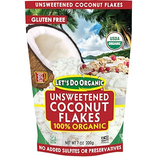 Edward & Sons, Let's Do Organic, 100% Organic Unsweetened Coconut Flakes, 7 oz (200 g)