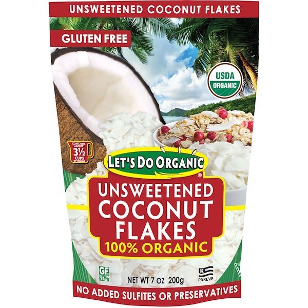 Let's Do Organic, 100% Organic Unsweetened Coconut Flakes, 7 oz (200 g)