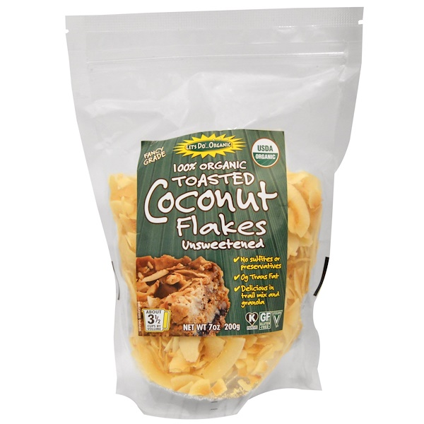 Edward & Sons, 100% Organic, Toasted Coconut Flakes Unsweetened, 7 oz (200 g)