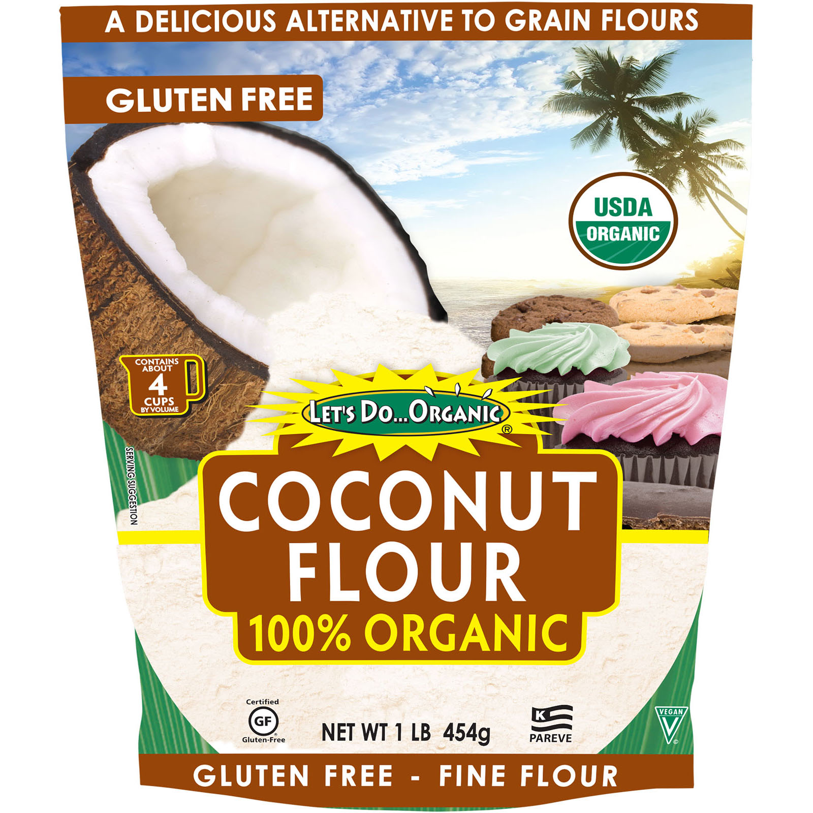 Edward Sons Let S Do Organic 100 Organic Coconut Flour 1 Lb 454 G Iherb