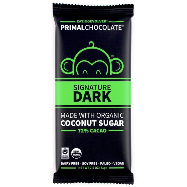 Evolved Chocolate, PrimalChocolate, Signature Dark, 72% Cacao, 2.5 oz (71 g)