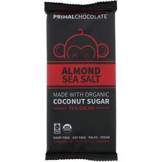 Eating Evolved, PrimalChocolate, Almond & Sea Salt 72% Cacao, 2.5 oz (71 g)