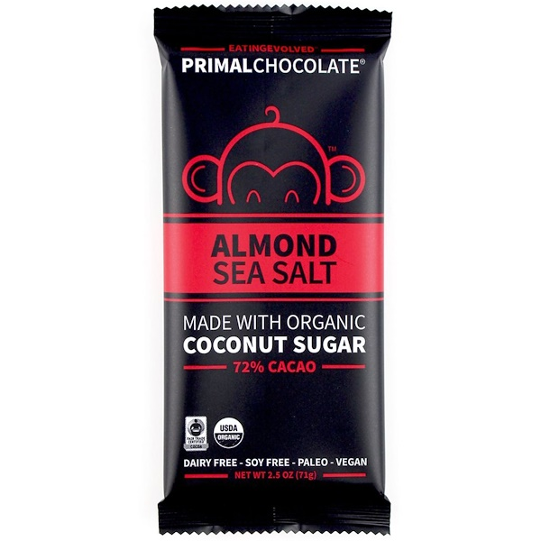 Evolved Chocolate, PrimalChocolate, Almond & Sea Salt 72% Cacao, 2.5 oz (71 g)