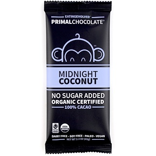 Eating Evolved, PrimalChocolate, Midnight Coconut 100% Cacao, 2.3 oz (65 g)