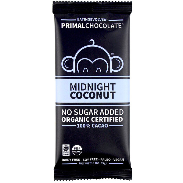 Evolved Chocolate, PrimalChocolate, Midnight Coconut 100% Cacao, 2.3 oz (65 g)