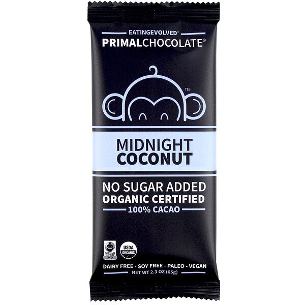 Evolved Chocolate, PrimalChocolate, Midnight Coconut 100% Cacoa, 2.3 oz (65 g)