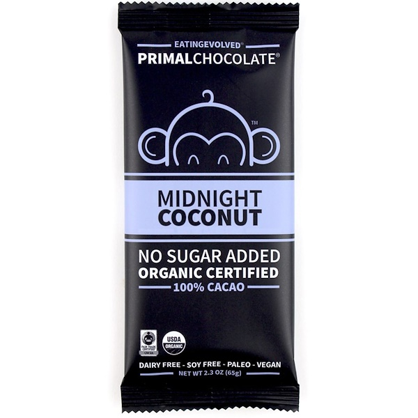 PrimalChocolate, Midnight Coconut 100% Cacao, 2.3 oz (65 g)
