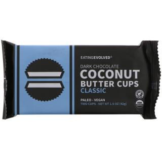 Eating Evolved, Dark Chocolate, Coconut Butter Cups, Classic, Two Cups, 1.5 oz (42 g)