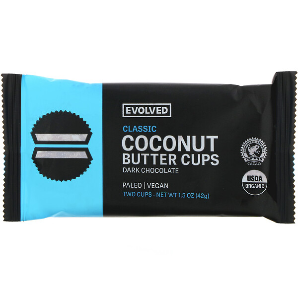 Evolved Chocolate, Dark Chocolate, Coconut Butter Cups, Classic, Two Cups, 1.5 oz (42 g)