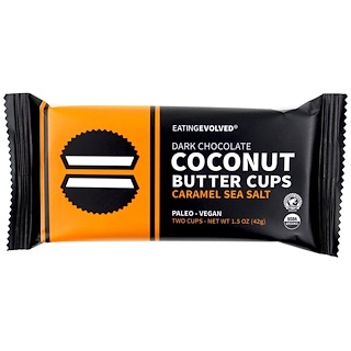 Eating Evolved, Dark Chocolate, Coconut Butter Cups, Caramel Sea Salt, Two Cups, 1.5 oz (42 g)