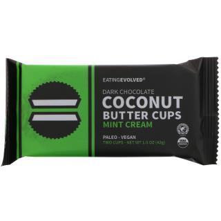 Eating Evolved, 다크 초콜릿, 코코넛 버터 컵스, 민트 크림, 투 컵스, 1.5 oz (42 g)