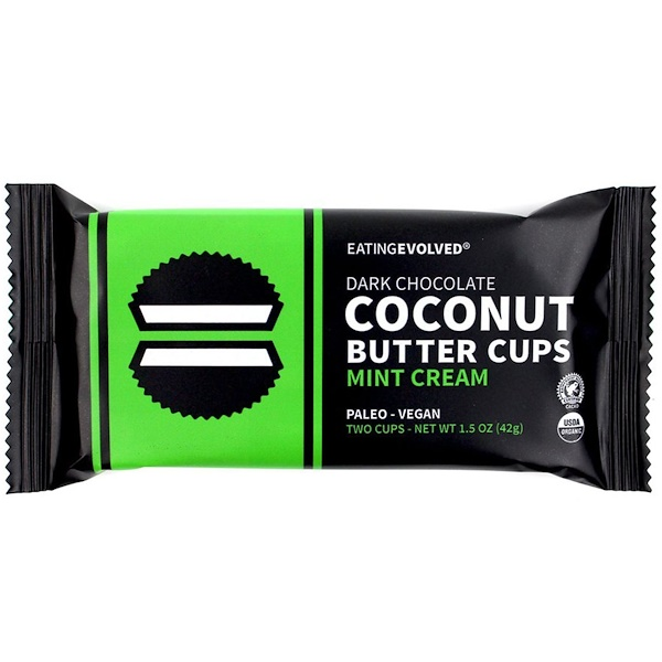 Eating Evolved, Dark Chocolate, Coconut Butter Cups, Mint Cream, Two Cups, 1.5 oz (42 g)