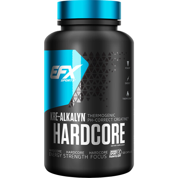 EFX Sports, Kre-Alkalyn Hardcore, 120 Cápsulas