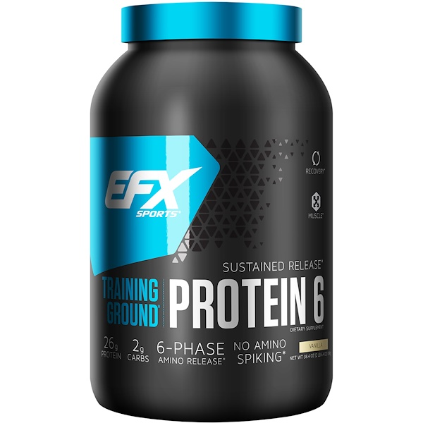 EFX Sports, Training Ground, Protein 6, Vanilla, 2.4 lbs (1089 g) (Discontinued Item)