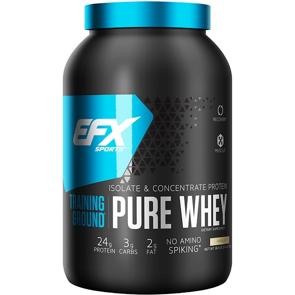 EFX Sports, Training Ground, Pure Whey, Vanilla, 2.4 lbs (1089 g) (Discontinued Item)