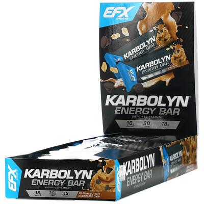 EFX Sports Karbolyn Energy Bar, Peanut Butter Chocolate Chip, 12 Bars, 2.12 (60 g) Each