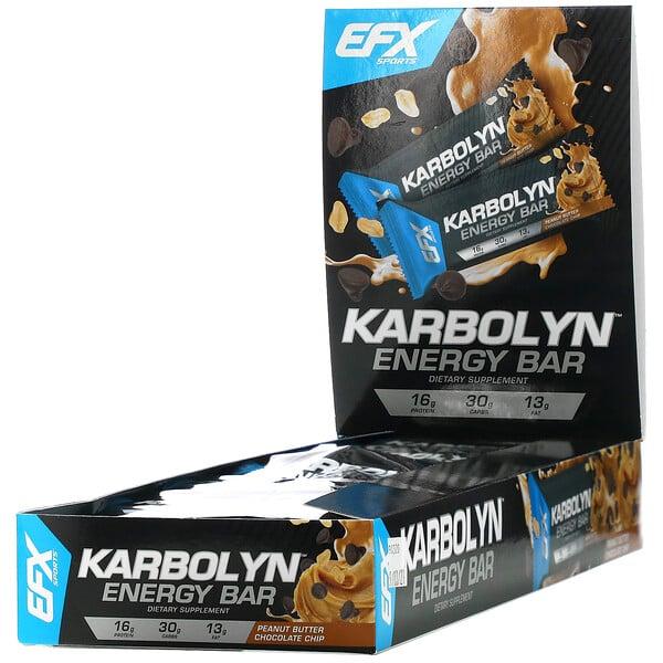 Karbolyn Energy Bar, Peanut Butter Chocolate Chip, 12 Bars, 2.12 (60 g) Each