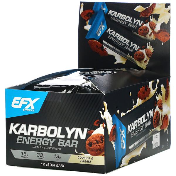 Karbolyn Energy Bar, Cookies & Cream, 12 Bars, 2.12 (60 g) Each
