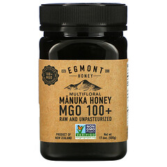 Egmont Honey, 雜花麥盧卡蜂蜜,未加工且未經巴氏殺菌,MGO 100+,17.6 盎司(500 克)