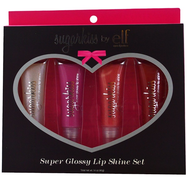 E.L.F. Cosmetics, Sugarkiss, Super Glossy Lip Shine Set, 4 Glosses, 0.35 oz (10 g) Each (Discontinued Item)