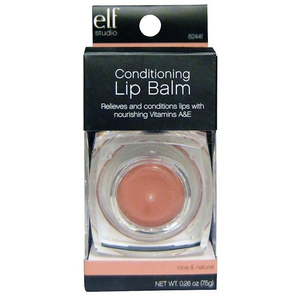 E.L.F. Cosmetics, Conditioning Lip Balm, Nice & Natural, 0.26 oz (7.5 g) (Discontinued Item)