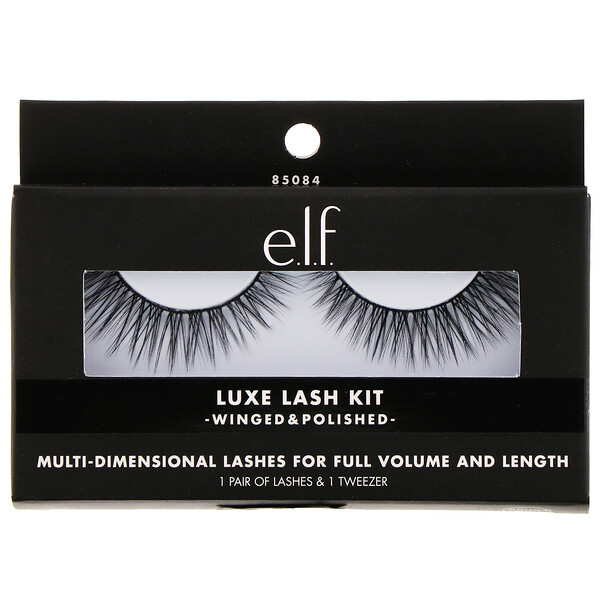 E.L.F., Luxe Lash Kit, Winged & Polished, 1 Pair of Lashes & 1 Tweezer