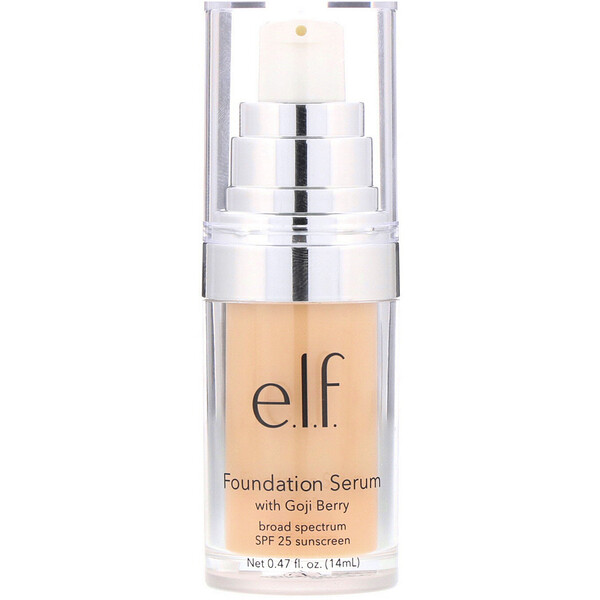 E.L.F., Beautifully Bare, Foundation Serum with Goji Berry, Broad Spectrum SPF 25 Sunscreen, Light/Medium, 0.47 fl (14 ml) (Discontinued Item)