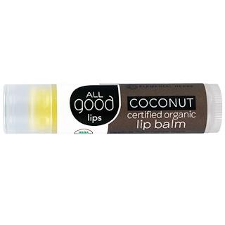 All Good Products, Todos los labios buenos, bálsamo labial orgánico certificado, coco, 4.25 g