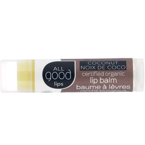 All Good Products, All Good Lips, Certified Organic Lip Balm, Coconut, 4.25 g (Discontinued Item)