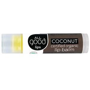 All Good Products, «Все хорошее» Lips, сертифицированный органический бальзам для губ, кокос, 4,25 г инструкция, применение, состав, противопоказания