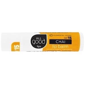 All Good Products, All Good Lips, Lip Balm, SPF 15, Chai, 4.25 g