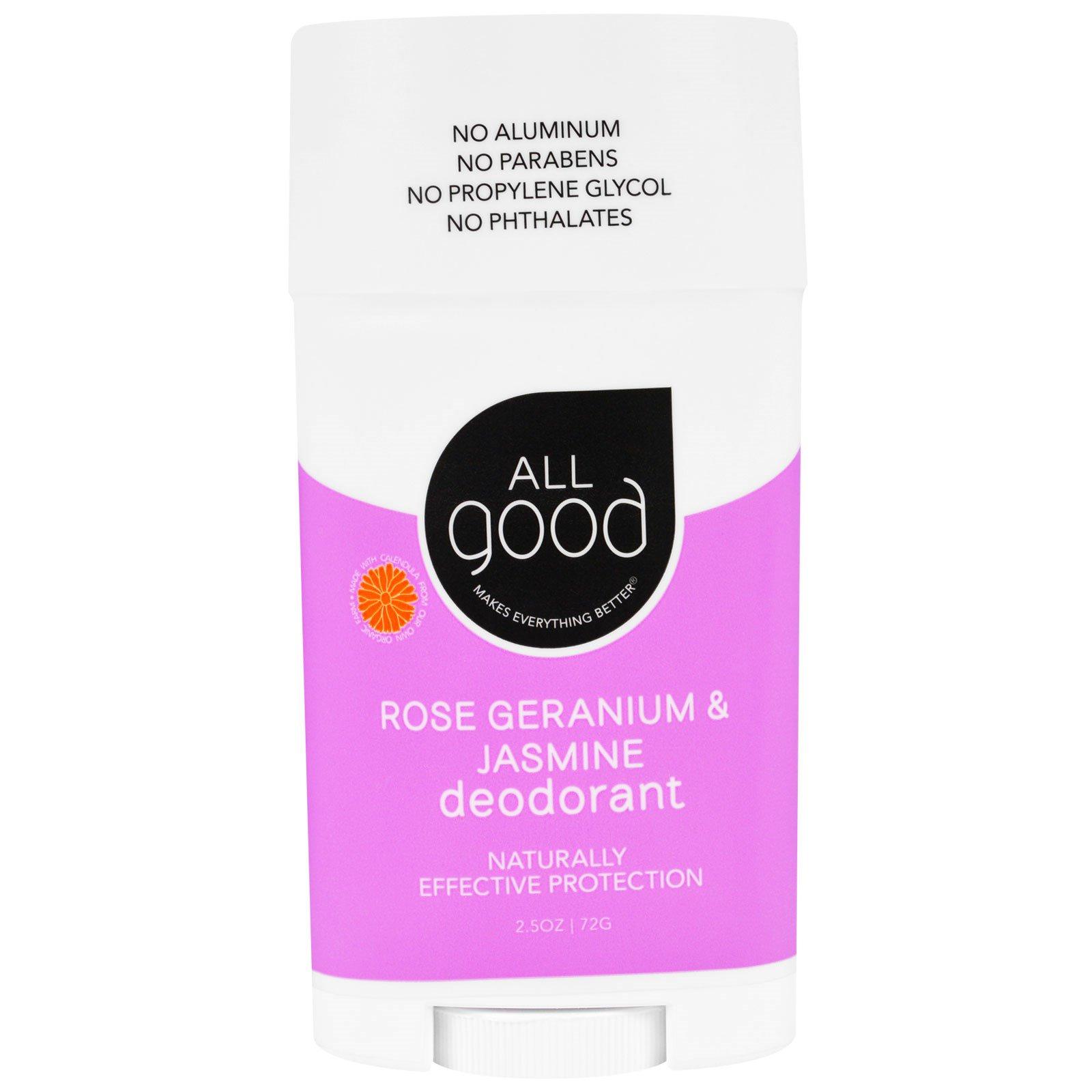 """All Good Products, """"Все хорошее"""", дезодорант, розовая герань и жасмин, 2,5 унции (72 г)"""