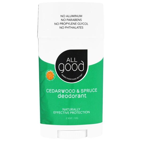 All Good Products, All Good, Deodorant, Cedarwood & Spruce , 2.5 oz (72 g) (Discontinued Item)