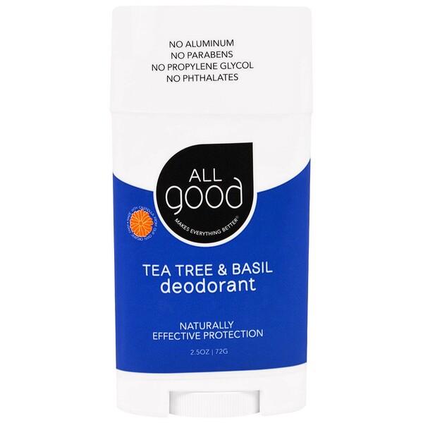 All Good Products, All Good, Deodorant, Tea Tree & Basil, 2.5 oz (72 g) (Discontinued Item)