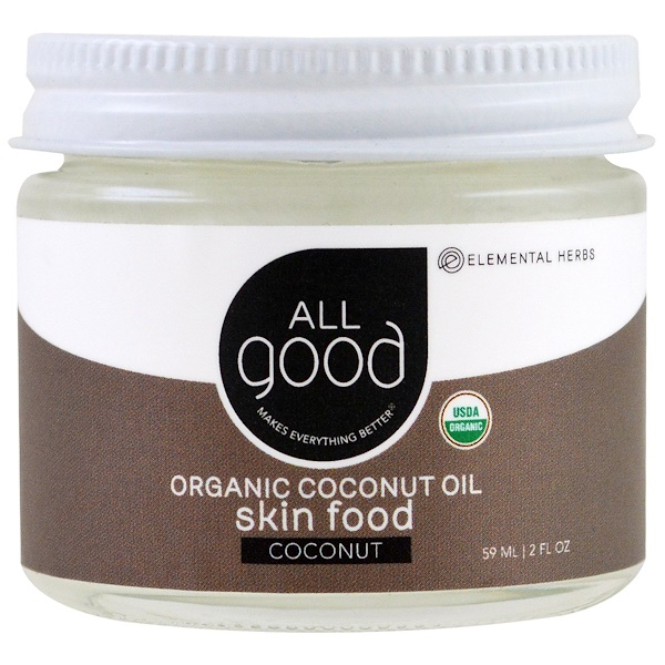 All Good Products, Organic Coconut Oil, Skin Food, Coconut, 2 fl oz (59 ml) (Discontinued Item)