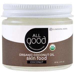 Ол Гуд Продактс, Organic Coconut Oil, Skin Food, Coconut, 2 fl oz (59 ml) отзывы покупателей