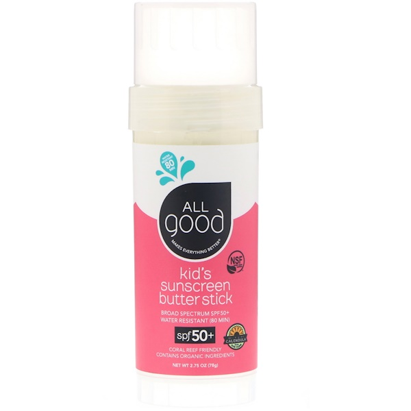 All Good Products, Kid's Sunscreen Butter Stick, SPF 50+, 2.75 oz (78 g) (Discontinued Item)