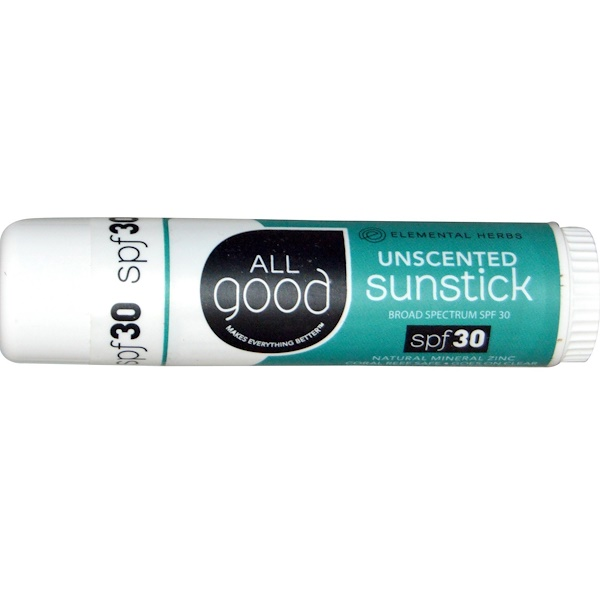 All Good Products, Sunstick, Zinc Sunscreen, SPF 30, Unscented, .6 oz (Discontinued Item)