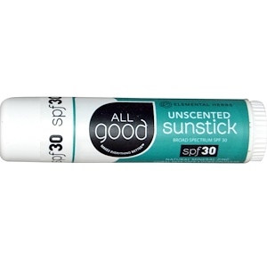 All Good Products, Sunstick, Zinc Sunscreen, SPF 30, Unscented, .6 oz
