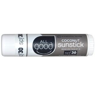 All Good Products, Sunstick, Zinc Sunscreen, SPF 30, Coconut, .6 oz