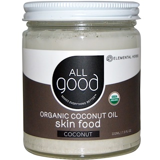 All Good Products, Aceite de coco orgánico, alimentos para la piel, coco, 7,5 onzas líquidas (222 ml)