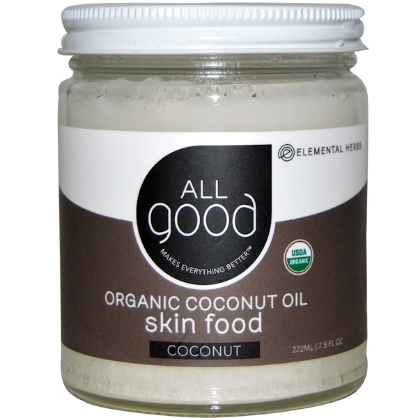 All Good Products, Organic Coconut Oil, Skin Food, Coconut, 7.5 fl oz (222 ml) (Discontinued Item)