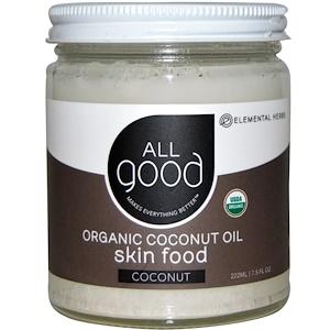 All Good Products, Органическое кокосовое масло, питание кожи, кокос, 7.5 ж.унций (222 мл) инструкция, применение, состав, противопоказания