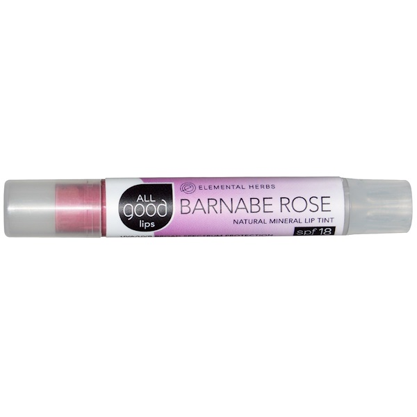 All Good Products, All Good Lips, Natural Mineral Lip Tint, SPF 18,  Barnabe Rose, 2.55 g (Discontinued Item)