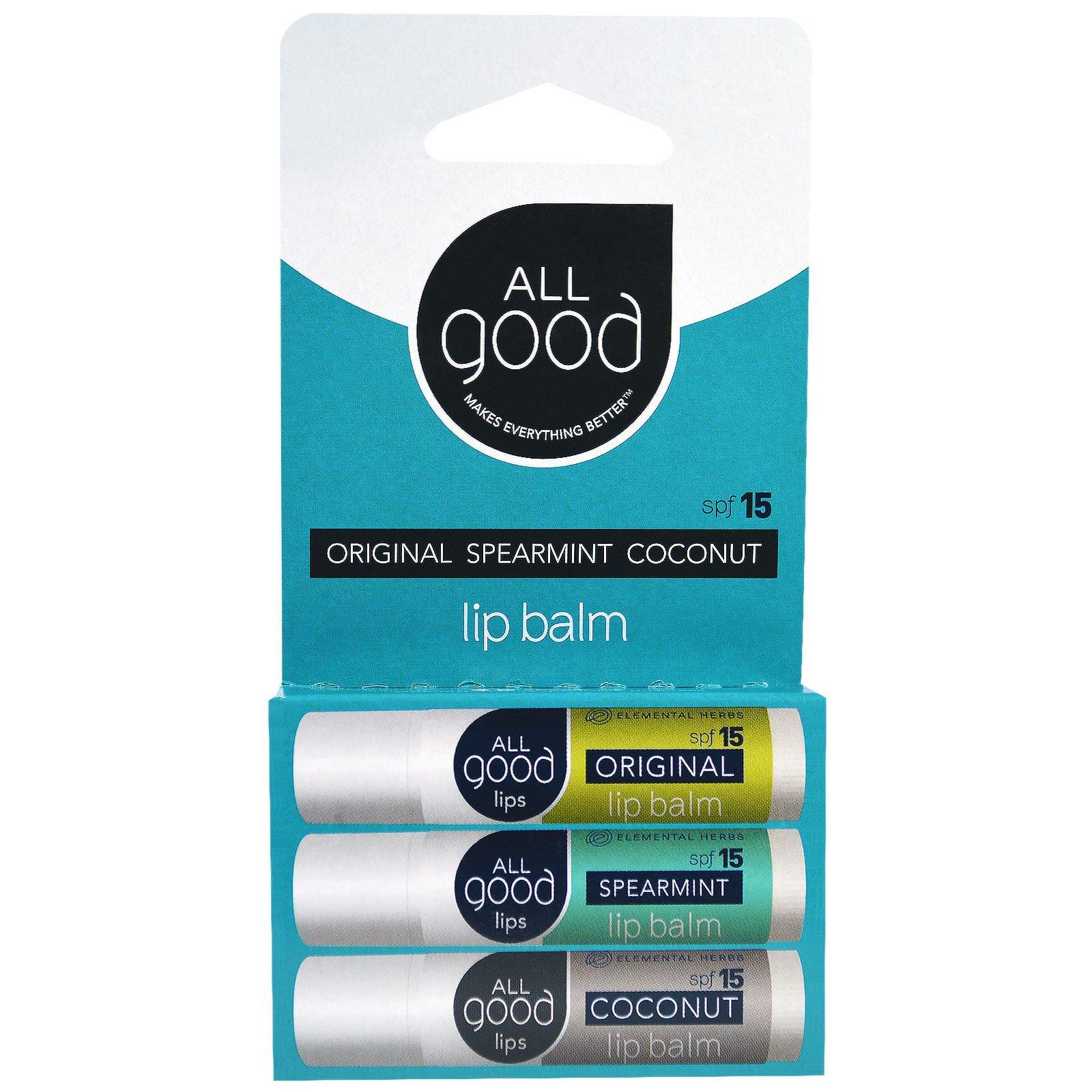 All Good Products, Бальзам для губ, SPF 15, оригинальный, мята, кокос, 3 шт., по 4,25 г каждый