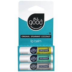 All Good Products, Lip Balm, SPF 15, Original, Spearmint, Coconut, 3 Pack, 4.25 g Each